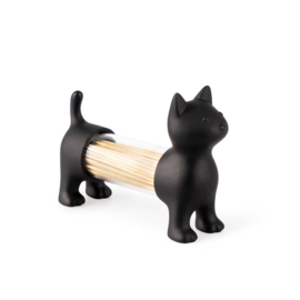 Tandenstokerhouder / Zoutstrooier - kat - zwart - Balvi