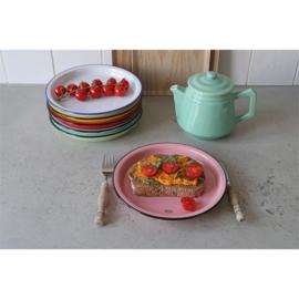 Ontbijtbord emaille look - roze - Cabanaz
