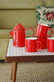 Mok (koffie/thee) emaille look - rood - Cabanaz