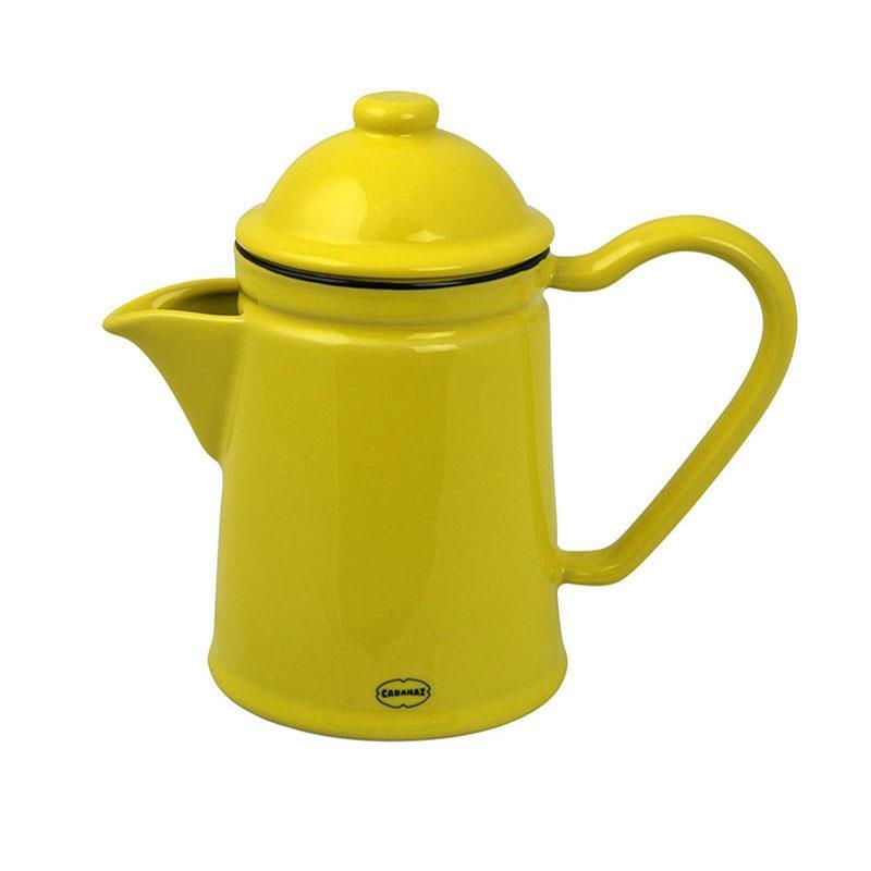 Koffiepot / theepot emaille look - geel - Cabanaz