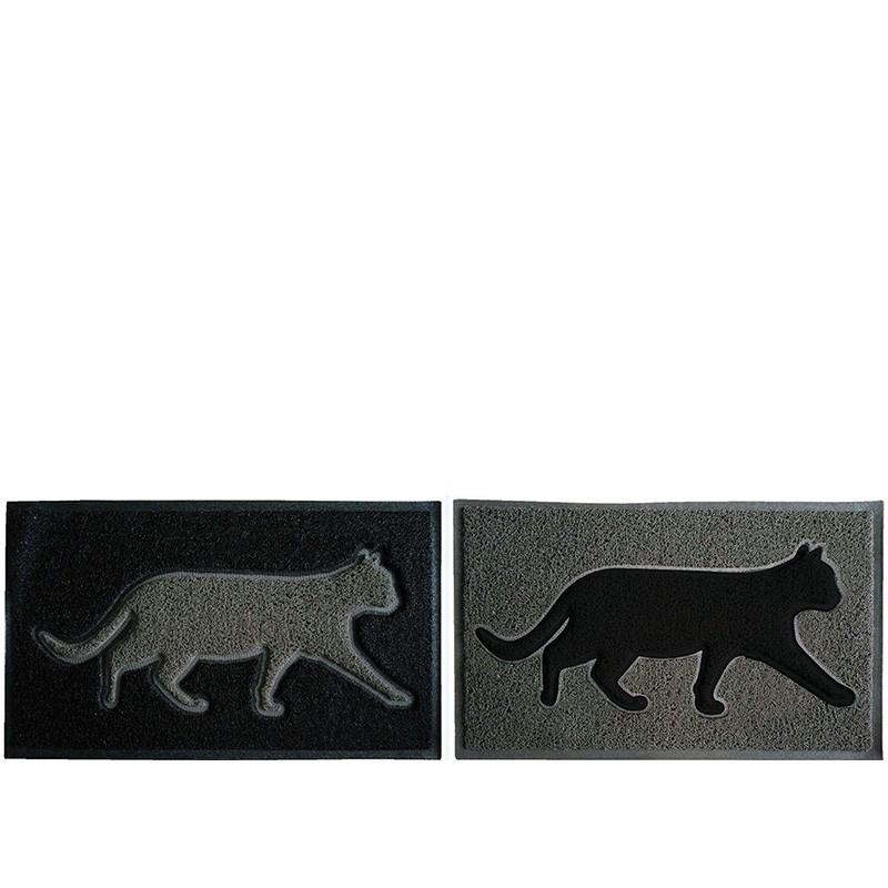 Deurmat poes - Esschert design (zwart / grijze poes)