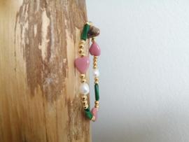 Pink Hearts Green Shell
