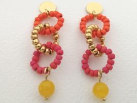 Circle Red Orange  and Jade