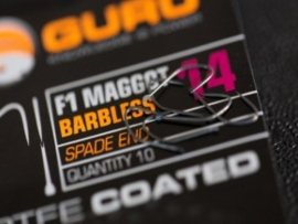 Guru F1 Maggot Barbless Spade End Hook