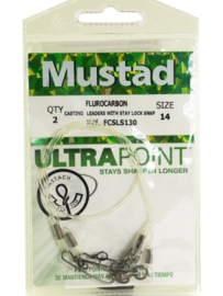 Mustad Flurocarbon Casting Leaders With Stay Lock Snap Size 14