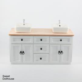 Dubbele wastafel landelijk wit - blank hout