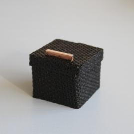 Vierkant mandje met deksel zwart