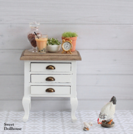 Small chest of drawers farmhouse style white - pickled wood