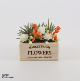 Decorated wooden tray orange FLOWERS