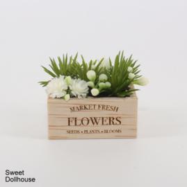 Gedecoreerd houten bakje wit FLOWERS