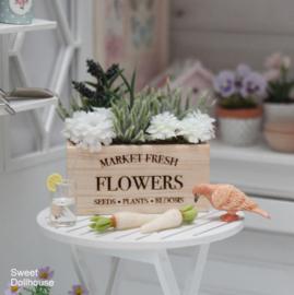 Gedecoreerd houten bakje FLOWERS