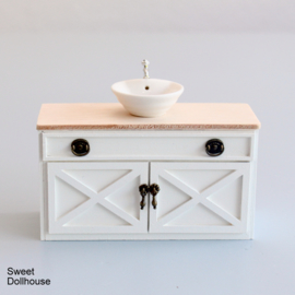 Wash cabinet with sink farmstyle white - plain wood