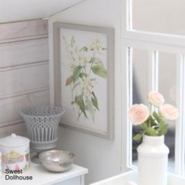 Postertje bloemen wit