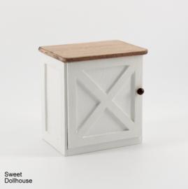 Klein kastje landelijk wit -  gebeitst