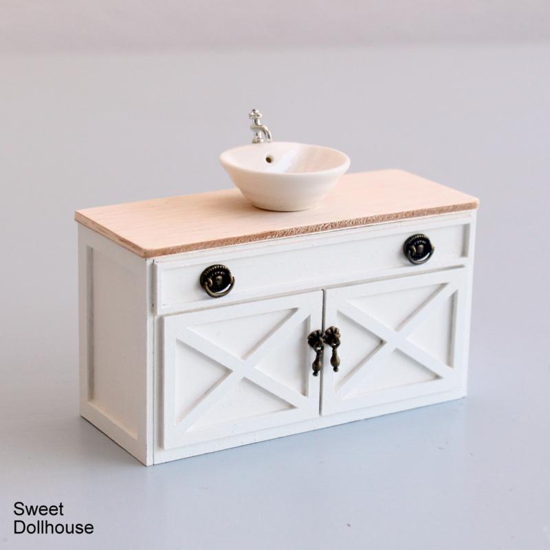 Wastafel Landelijk Wit Blank Hout Meubels Sweet Dollhouse