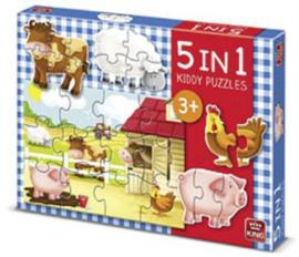 Kinderpuzzel 5 in 1 De Boerderij
