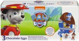 3 chocolade eieren met Paw Patrol Thema