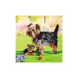 Crystal Art Kaart Hond 18 x 18 cm