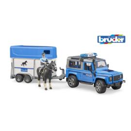 Bruder Jeep Politie met Paardentrailer en Paard