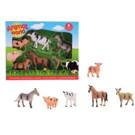 Boerderij Dieren Animal World 6 stuks in Doos