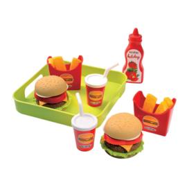 Voedselvet hamburger op dienblad