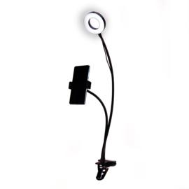 Selfie ringlamp flexibel met tafelklem