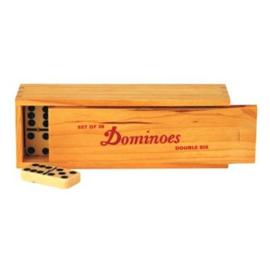 Spel Domino Hout Dubbel 6 in kist