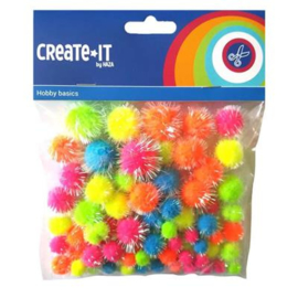 Pompoms Glitter Neon 75 stuks