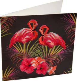 Crystal Art Kaart Flamingo 18x18 cm