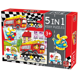 Kinderpuzzel 5 in 1 Auto's