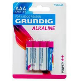 Batterij AAA Grundig Alkaline 950MAH  4 Stuks