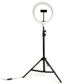 Selfie ringlamp 26cm met statief 210cm