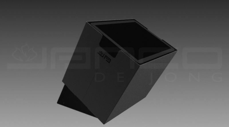 Houtbak JAnco de Jong klein incl. zwarte kunststof binnenbak voor vloer of wand