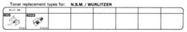 NSM/Wurlitzer pick-upnaaldenoverzicht Tonar