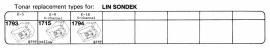 Overige typen Lin Sondek: Tonar-vervangers