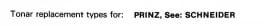 Overige typen Prinz: Tonar-vervangers