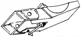 Audio Technica AT-13 EA oranje-rood pick-upnaald = Tonar 794 Diamant Elliptisch