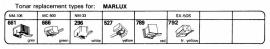 Overige typen Marlux: Tonar-vervangers