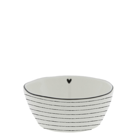 Saus Bowl | Heart & Stripes | Medium Ø:9,5 cm | Wit/Zwart | Bastion Collection