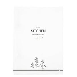 Theedoek | Kitchen & Flowers | Wit/Zwart | Bastion Collections