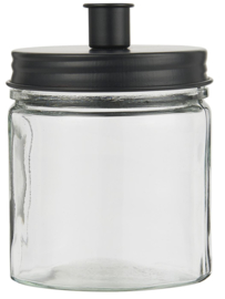 Kandelaar Glas met Metalen Deksel | Zwart | IB Laursen