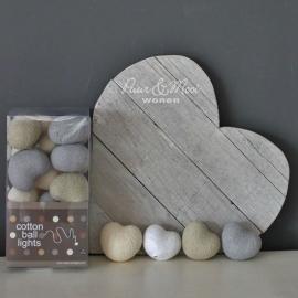 Cotton Ball Lights | Hearts | Naturel Grijs Wit