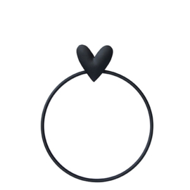 Handdoekring Heart | Zwart | Bastion Collections