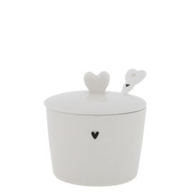 Suikerpot Heart & Lepeltje | Wit/Zwart | Bastion Collections
