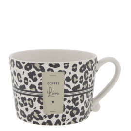 Mok Large | Leopard Coffee Love | Wit/Zwart/Titane | Bastion Collections