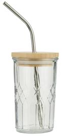 Drinkglas met Bamboe Deksel en Roestvrijstaal Rietje | IB Laursen