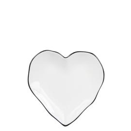 Bordje Hart | Wit met Zwart randje | 13 cm | Bastion Collections