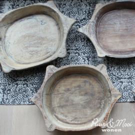Houten Schaal White/Grey Wash