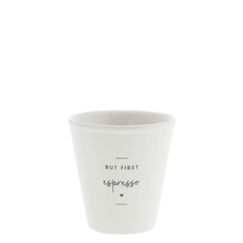 Espresso Mok Paperlook | But first Espresso | Wit/Zwart | Bastion Collections
