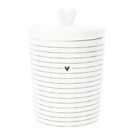 Voorraadpot Stripes ♥ | Small | Wit/Zwart | Bastion Collections